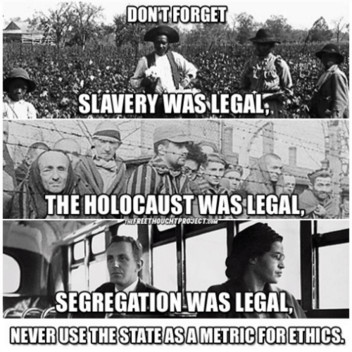Holocaust, Com, and Slavery: DON'T FORGET  SLAVERY WAS-LEGAL  THE HOLOCAUST WASLEGAL  FREETHOUCHTPROJECT.COM  SEGREGATION -WAS LEGAL  NEVERUSETHESTATE ASAMETRIC FOR ETHICS