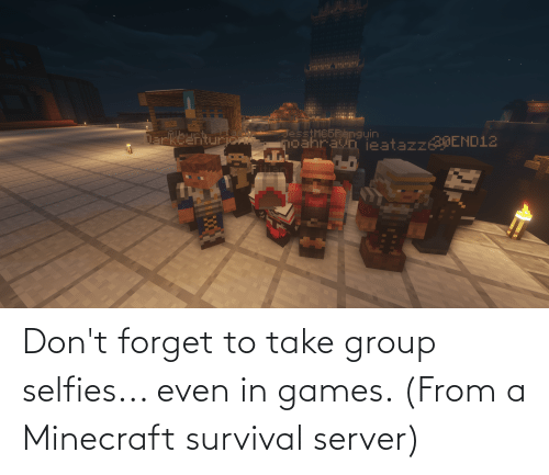 selfies: Don't forget to take group selfies... even in games. (From a Minecraft survival server)