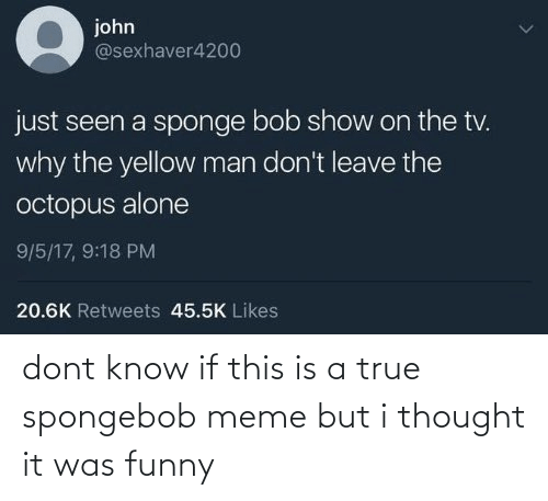 SpongeBob: dont know if this is a true spongebob meme but i thought it was funny