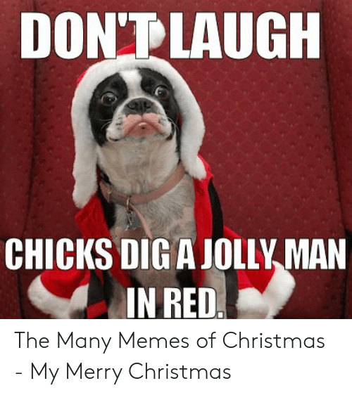 merry christmas meme: DONT LAUGH  CHICKS DIG A JOLLY MAN  IN RED The Many Memes of Christmas - My Merry Christmas