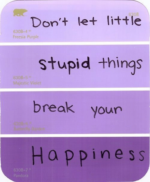 Break, Purple, and Violet: Don't let little  stupid things  break your  Happines s  630B-4  Freesia Purple  Majestic Violet  630  Pando