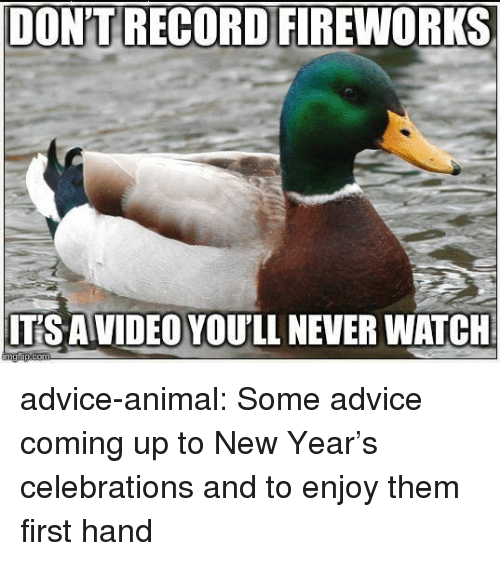 Advice, New Year's, and Tumblr: DON'T RECORD FIREWORKS  ITS AVIDEO YOU'LL NEVER WATCH advice-animal:  Some advice coming up to New Year's celebrations and to enjoy them first hand
