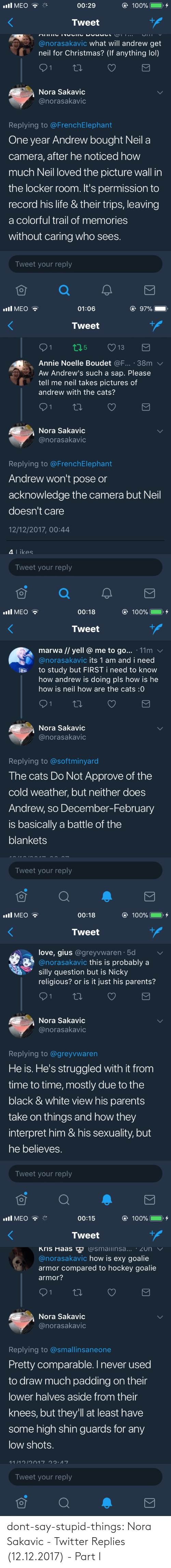 dont: dont-say-stupid-things:  Nora Sakavic - Twitter Replies (12.12.2017) - Part I