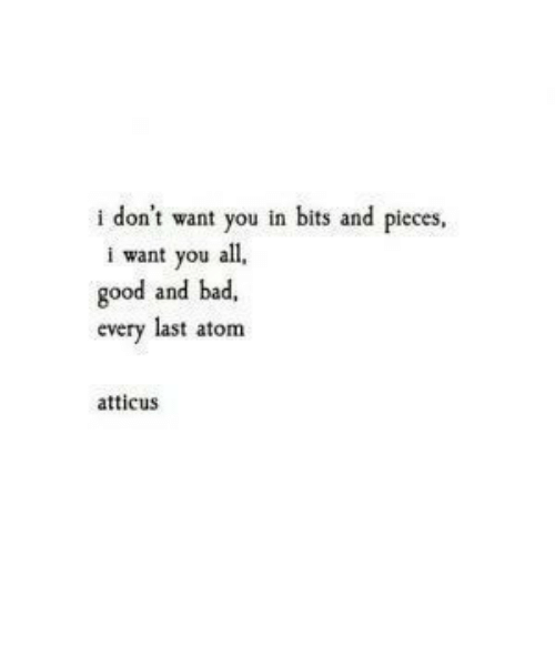 Dont Want You: don't want you in bits and pieces,  i want you all  good and bad,  every last atom  atticus