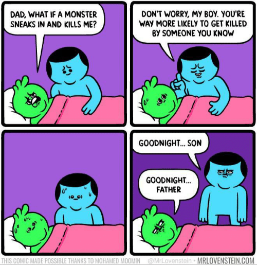 My Boy: DON'T WORRY, MY BOY. YOU'RE  WAY MORE LIKELY TO GET KILLED  BY SOMEONE YOU KNOW  DAD, WHAT IF A MONSTER  SNEAKS IN AND KILLS ME?  GOODNIGH... SON  GOODNIGHT...  FATHER  THIS COMIC MADE POSSIBLE THANKS TO MOHAMED MOOMIN@MrLovenstein  MRLOVENSTEIN.COM