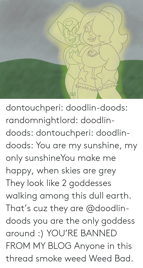 Bad, Tumblr, and Weed: dontouchperi:  doodlin-doods:  randomnightlord:  doodlin-doods:  dontouchperi:  doodlin-doods:  You are my sunshine, my only sunshineYou make me happy, when skies are grey  They look like 2 goddesses walking among this dull earth.   That's cuz they are  @doodlin-doods you are the only goddess around :)   YOU'RE BANNED FROM MY BLOG   Anyone in this thread smoke weed  Weed Bad.
