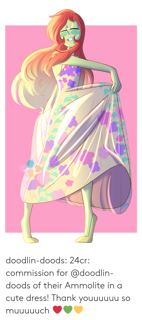 Cute, Tumblr, and Blog: doodlin-doods:  24cr:  commission for @doodlin-doods of their Ammolite in a cute dress!  Thank youuuuuu so muuuuuch ❤️💚💛