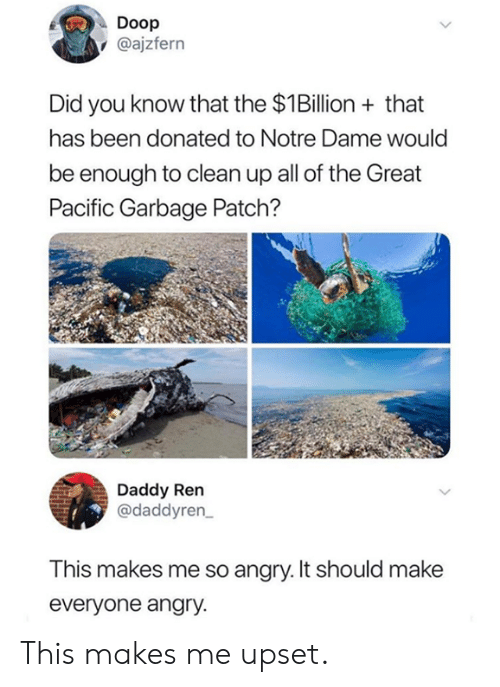 Dank, Notre Dame, and Angry: Doop  @ajzfern  Did you know that the $1Billion+that  has been donated to Notre Dame would  be enough to clean up all of the Great  Pacific Garbage Patch?  Daddy Ren  @daddyren  This makes me so angry. It should make  everyone angry. This makes me upset.