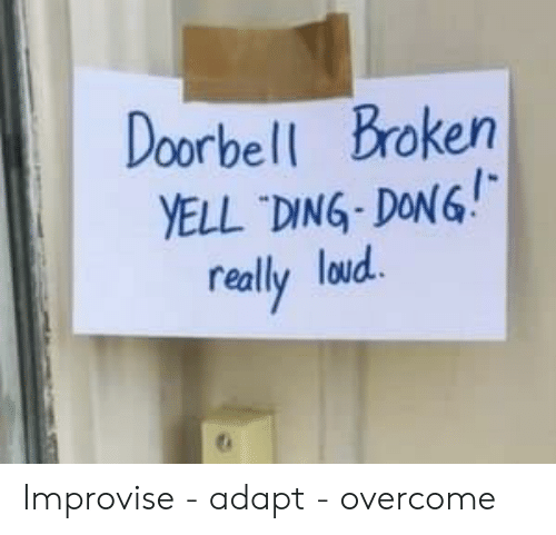 Dong, Really, and Broken: Doorbell Broken  YELL DING-DONG!  really loud Improvise - adapt - overcome