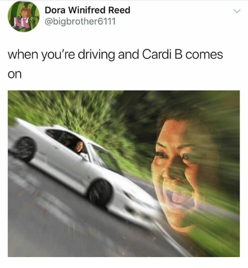 Driving, Dora, and Cardi B: Dora Winifred Reed  @bigbrother6111  when you're driving and Cardi B comes  on