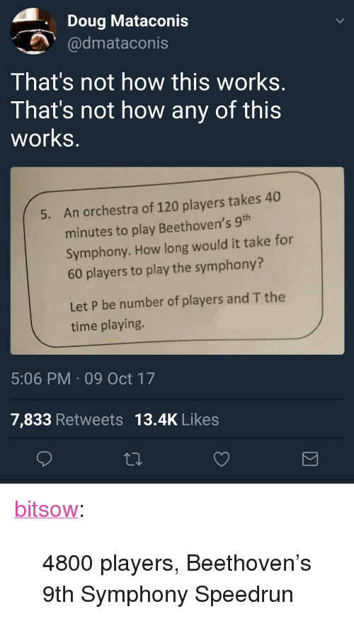 """Doug, Tumblr, and Beethoven: Doug Mataconis  dmataconis  That's not how this works  That's not how any of this  works  An orchestra of 120 players takes 40  minutes to play Beethoven's 9  Symphony. How long would it take for  60 players to play the symphony?  5.  Let P be number of players and T the  time playing.  5:06 PM 09 Oct 17  7,833 Retweets 13.4K Likes <p><a href=""""http://bitsow.tumblr.com/post/166394532382/4800-players-beethovens-9th-symphony-speedrun"""" class=""""tumblr_blog"""">bitsow</a>:</p> <blockquote><p>4800 players, Beethoven's 9th Symphony Speedrun</p></blockquote>"""
