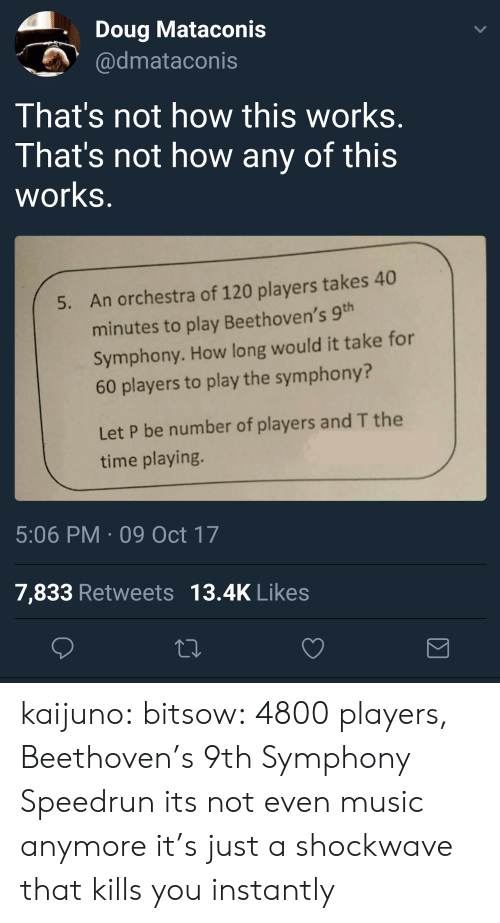 Doug, Music, and Tumblr: Doug Mataconis  dmataconis  That's not how this works  That's not how any of this  works  An orchestra of 120 players takes 40  minutes to play Beethoven's 9  Symphony. How long would it take for  60 players to play the symphony?  5.  Let P be number of players and T the  time playing.  5:06 PM 09 Oct 17  7,833 Retweets 13.4K Likes kaijuno: bitsow: 4800 players, Beethoven's 9th Symphony Speedrun its not even music anymore it's just a shockwave that kills you instantly