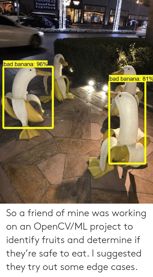downtown: DOwNTOWN  bad banana: 96%  bad banana: 81% So a friend of mine was working on an OpenCV/ML project to identify fruits and determine if they're safe to eat. I suggested they try out some edge cases.