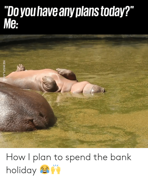 "Dank, Bank, and Today: ""Doyouhave any plans today?""  Me How I plan to spend the bank holiday 😂🙌"