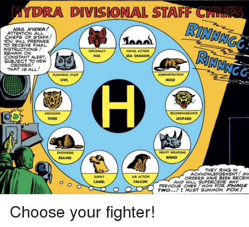 Choose Your Fighter: DRA DIVISIONAL STAFF CH  STARINIMNG  HAIL HYDRA!  ATTENTION ALL  CHIEFS OF STAFF  YOU WILL PREPARE  TO RECEIVE FINAL  INSTRUCTIONS!  REMAIN N  CONSTANT ALERT  SUBJECT TO NEW  NAVAL ACTION  SEA DRAGON  DIPLOMACY  FOX  ORDERS  THAT IS ALL!  NCC  PLANNING STAFF  ADMINISTRATION  OWL  MOLE  RECONNAISSANCE  ASSASSINS  TIGER  LEOPARD  ENGINEERS  BEAVER  HEAVY WEAPONS  RHINO  THEY RING IN  ACKNOWLEDGEMENT! MY  SUPPLY  CAMEL  AIR ACTION  ORDERS HAVE BEEN RECEIV  FALCON  AND WILL SUPERCEDE AN  PREVIOUS ONESNOW FOR PHASE  TWO... I MUST SUMMON FOX! Choose your fighter!