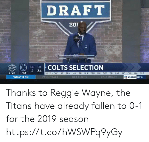 Indianapolis Colts, Nfl, and NFL Draft: DRAFT  201  COLTS SELECTION  RD PK  LIVE IND 2 34  OAK SF SEA JAX TB BUF DEN CIN DET GB LAR IND CAR MIA CLE  WHAT'S ON  201 DRAFT  HEAPLINE  NFL DRAFT  sar 12ετ Thanks to Reggie Wayne, the Titans have already fallen to 0-1 for the 2019 season https://t.co/hWSWPq9yGy