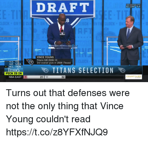 Nba, Nfl, and Texas: DRAFT  .8  VINCE YOUNG  Titans QB 2006-10  -43. NE  3rd overall pick in 2006 (Texas)  42. MIA  41. TEN  HN  PICK IS IN  NBA EAST  TITANS SELECTION  COURTYARD  28 V  32 Turns out that defenses were not the only thing that Vince Young couldn't read https://t.co/z8YFXfNJQ9