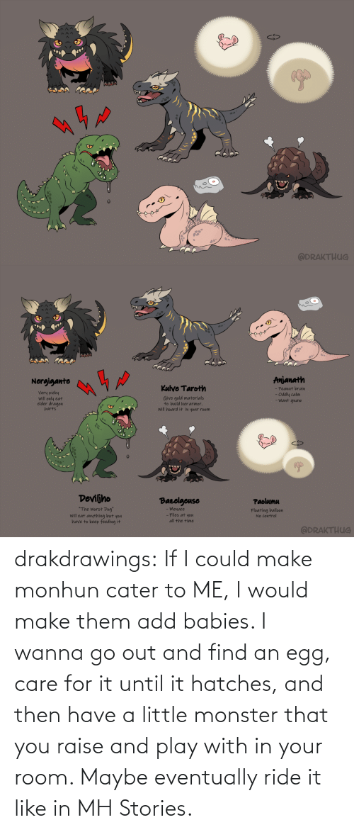 then: drakdrawings:    If I could make monhun cater to ME, I would make them add babies. I wanna go out and find an egg, care for it until it hatches, and then have a little monster that you raise and play with in your room. Maybe eventually ride it like in MH Stories.