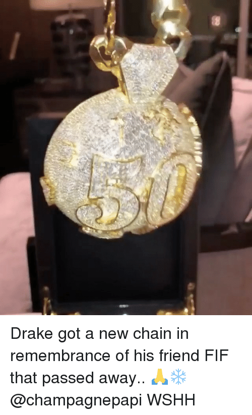 Drake, Memes, and Wshh: Drake got a new chain in remembrance of his friend FIF that passed away.. 🙏❄️ @champagnepapi WSHH