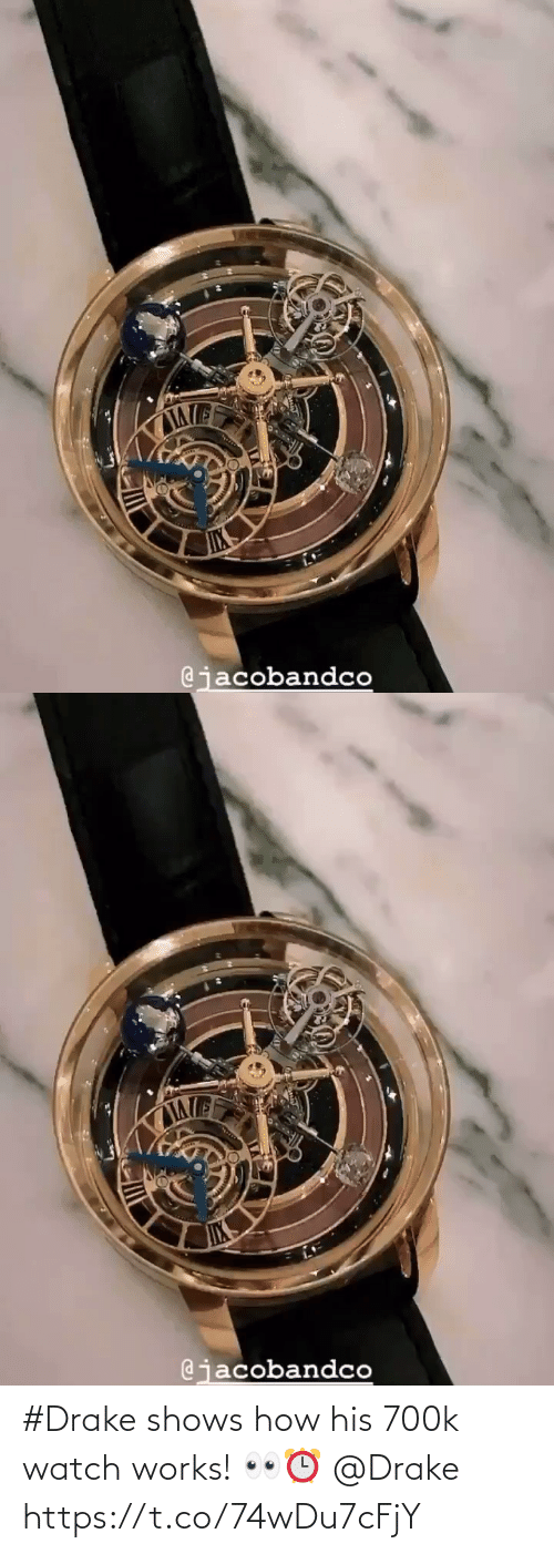 Shows: #Drake shows how his 700k watch works! 👀⏰ @Drake https://t.co/74wDu7cFjY