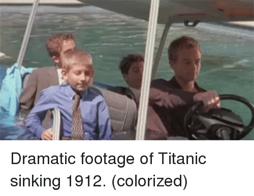 sinking: Dramatic footage of Titanic sinking 1912. (colorized)