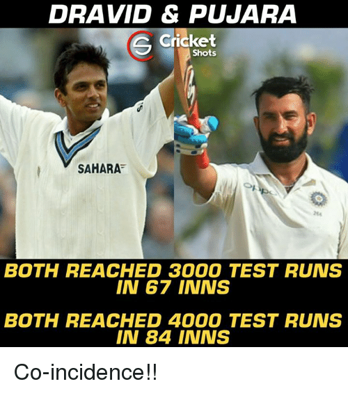 Memes, Cricket, and Test: DRAVID & PJARA  Cricket  Shots  SAHARA  264  BOTH REACHED 3000 TEST RUNS  IN 67 INNS  BOTH REACHED 4000 TEST RUNS  IN 84 INNS Co-incidence!!