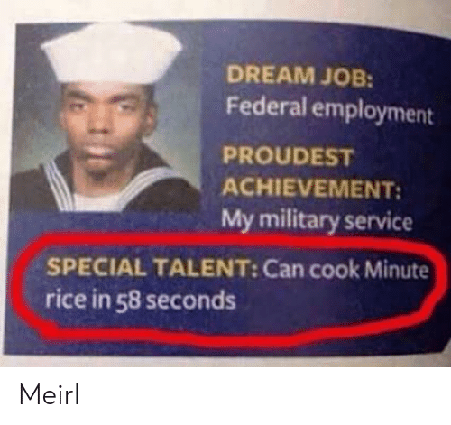 Military, MeIRL, and Job: DREAM JOB:  Federal employment  PROUDEST  ACHIEVEMENT  My military service  SPECIAL TALENT: Can cook Minute  rice in 58 seconds Meirl