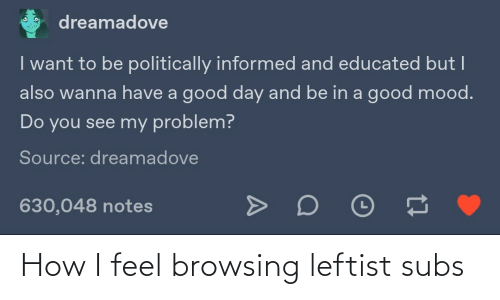 i want to be: dreamadove  I want to be politically informed and educated but I  also wanna have a good day and be in a good mood.  Do you see my problem?  Source: dreamadove  630,048 notes How I feel browsing leftist subs