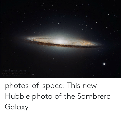 Tumblr, Blog, and Space: dred photos-of-space:  This new Hubble photo of the Sombrero Galaxy