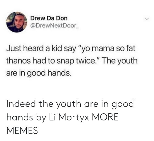 """Dank, Memes, and Target: Drew Da Don  @DrewNextDoor  Just heard a kid say """"yo mama so fat  thanos had to snap twice."""" The youth  are in good hands Indeed the youth are in good hands by LilMortyx MORE MEMES"""