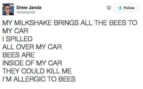 Brings: Drew Janda  drewjanda  Follow  MY MILKSHAKE BRINGS ALL THE BEES TO  MY CAR  I SPILLED  ALL OVER MY CAR  BEES ARE  INSIDE OF MY CAR  THEY COULD KILL ME  I'M ALLERGIC TO BEES