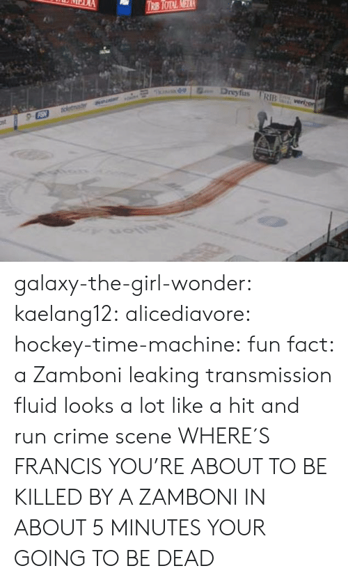 Leaking: Dreyfus RIB galaxy-the-girl-wonder:  kaelang12:  alicediavore:  hockey-time-machine: fun fact: a Zamboni leaking transmission fluid looks a lot like a hit and run crime scene WHERE´S FRANCIS  YOU'RE ABOUT TO BE KILLED BY A ZAMBONI   IN ABOUT 5 MINUTES YOUR GOING TO BE DEAD