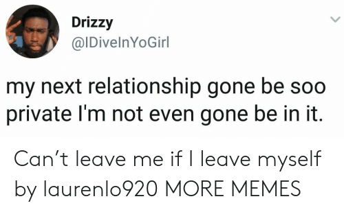 Dank, Memes, and Target: Drizzy  @IDivelnYoGirl  my next relationship gone be soo  private I'm not even gone be in it Can't leave me if I leave myself by laurenlo920 MORE MEMES