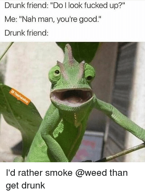 "Drunk, Weed, and Good: Drunk friend: ""Do l look fucked up?""  Me: ""Nah man, you're good.""  Drunk friend: I'd rather smoke @weed than get drunk"
