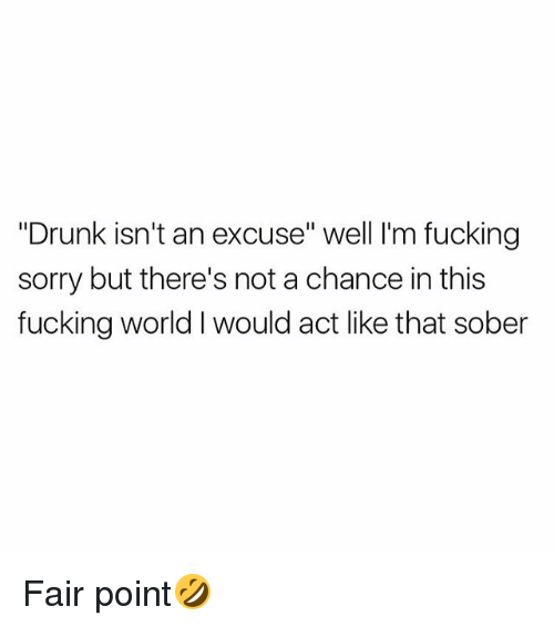 """Drunked: """"Drunk isn't an excuse"""" well I'm fucking  sorry but there's not a chance in this  fucking world I would act like that sober Fair point🤣"""