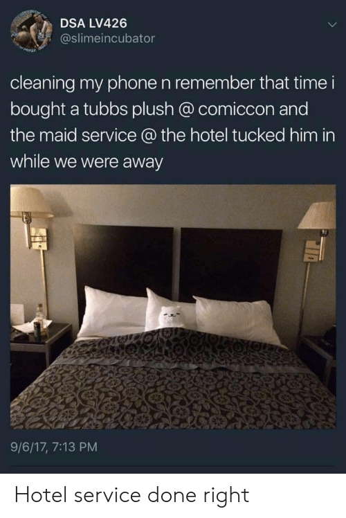 maid: DSA LV426  @slimeincubator  cleaning my phone n remember that time i  bought a tubbs plush @ comiccon and  the maid service @ the hotel tucked him in  while we were away  9/6/17, 7:13 PM Hotel service done right