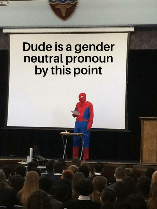 Dude, Pronoun, and Gender: Dude is a gender  neutral pronoun  by this point