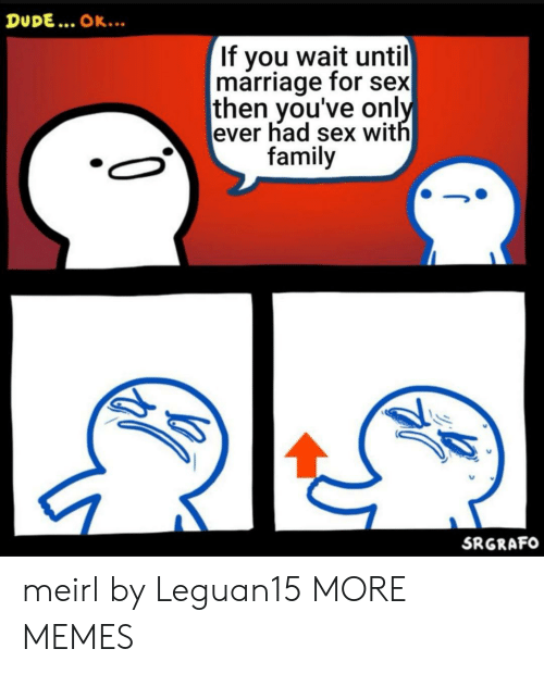 Dank, Dude, and Family: DUDE... OK..  If you wait until  marriage for sex  then you've only  ever had sex with  family  SRGRAFO meirl by Leguan15 MORE MEMES