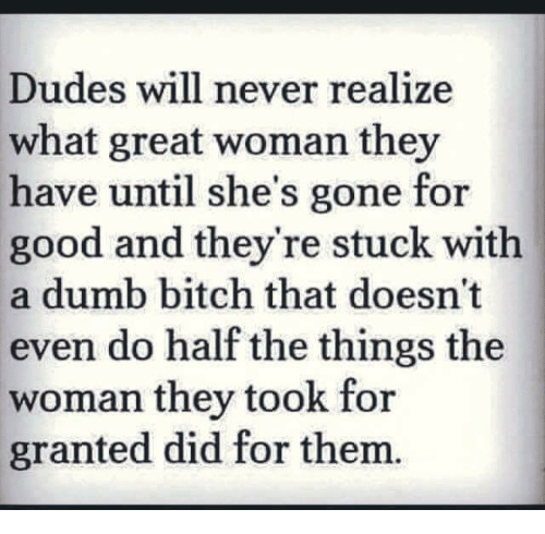 halfs: Dudes will never realize  what great woman they  have until she's gone for  good and they're stuck with  a dumb bitch that doesn't  even do half the things the  woman they took for  granted did for them.