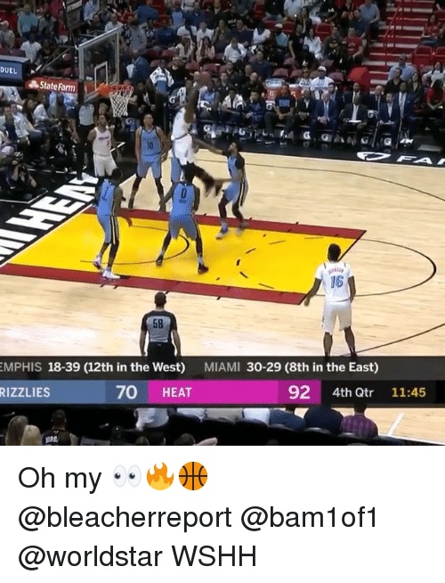 Memes, Worldstar, and Wshh: DUEL  State Farm  16  58  MPHIS 18-39 (12th in the West) MIAMI 30-29 (8th in the East)  92 4th Qtr 11:45  RIZZLIES  70 HEAT Oh my 👀🔥🏀 @bleacherreport @bam1of1 @worldstar WSHH