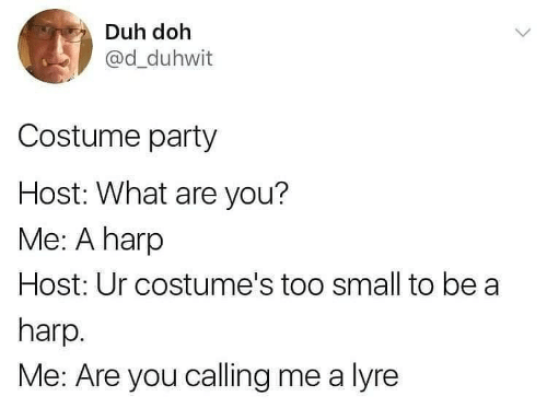 Party: Duh doh  @d_duhwit  Costume party  Host: What are you?  Me: A harp  Host: Ur costume's too small to be a  harp.  Me: Are you calling me a lyre