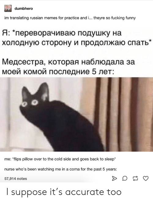 "Fucking, Funny, and Memes: dumbhero  im translating russian memes for practice and ... theyre so fucking funny  Я: ""переворачиваю подушку на  холодную сторону и продолжаю спать""  Медсестра, которая наблюдала за  моей комой последние 5 лет:  me: *flips pillow over to the cold side and goes back to sleep*  nurse who's been watching me in a coma for the past 5 years:  57,914 notes I suppose it's accurate too"