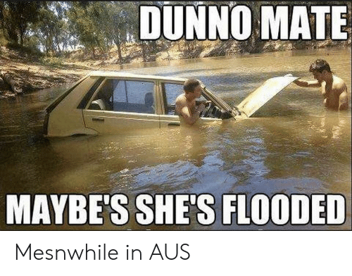 Shes, Mate, and Dunno: DUNNO MATE  MAYBE'S SHE'S FLOODED Mesnwhile in AUS