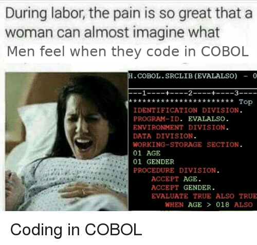 True, Pain, and Gender: During labor, the pain is so great that a  woman can almost imagine what  Men feel when they code in COBOL  .COBOL.SRCLIB (EVALALSO) - 0  Top  IDENTIFICATION DIVISION  PROGRAM-ID. EVALALSO  ENVIRONMENT DIVISION  DATA DIVISION  WORKING-STORAGE SECTION  01 AGE  01 GENDER  PROCEDURE DIVISION  ACCEPT AGE  ACCEPT GENDER.  EVALUATE TRUE ALSO TRUE  WHEN AGE  018 ALSO Coding in COBOL