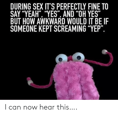 """Sex, Yeah, and Awkward: DURING SEX IT'S PERFECTLY FINE TO  SAY """"YEAH """"YES AND """"OH YES""""  BUT HOW AWKWARD WOULD IT BE IF  SOMEONE KEPT SCREAMING """"YEP"""". I can now hear this…."""