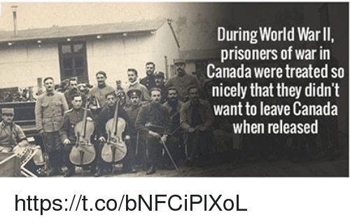 prisoner of war: During World Warll,  prisoners of war in  Canada were treated so  eA Le, nicely that they didn't  want to leave Canada  when released https://t.co/bNFCiPlXoL