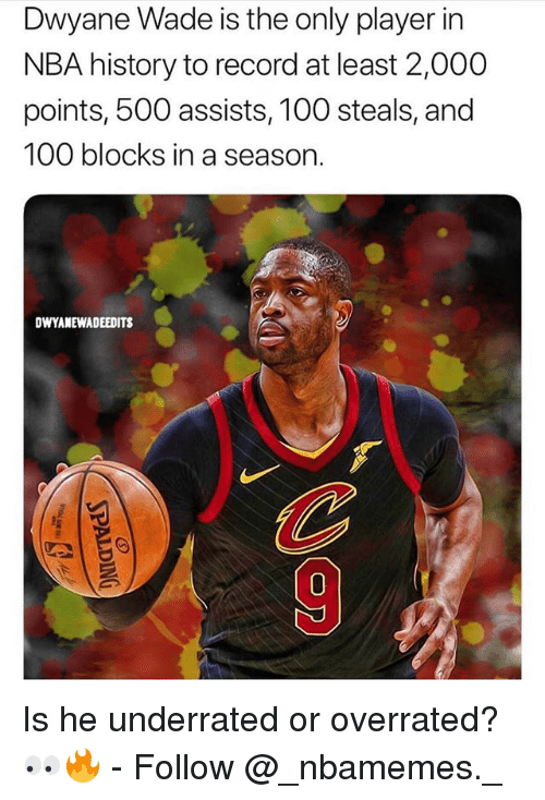 Anaconda, Dwyane Wade, and Memes: Dwyane Wade is the only player in  NBA history to record at least 2,000  points, 500 assists, 100 steals, and  100 blocks in a season  DWYANEWADEEDITS  0 Is he underrated or overrated? 👀🔥 - Follow @_nbamemes._
