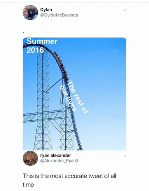 Summer, Time, and Alexander: Dylan  @DyldoMcBuckets  13  Summer  2016  ryan alexander  @Alexander Ryan3  This is the most accurate tweet of all  time