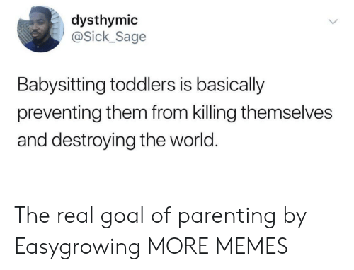 ick: dysthymic  ick_Sage  Babysitting toddlers is basically  preventing them from killing themselves  and destroying the world. The real goal of parenting by Easygrowing MORE MEMES