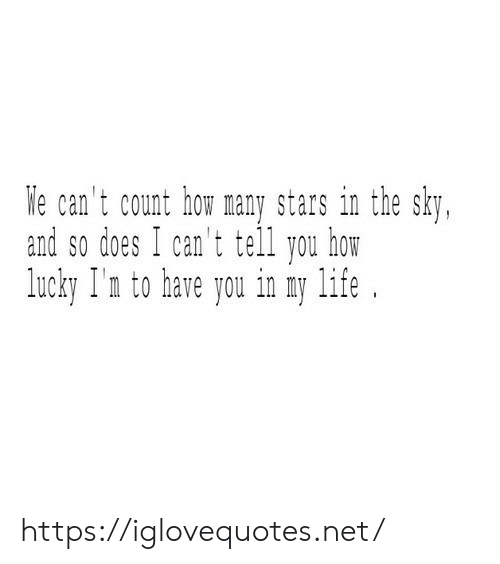 Life, Stars, and How: e can't count how many stars in the sky,  and so does I can't tell you hom  lucky I'n to have you in y life. https://iglovequotes.net/